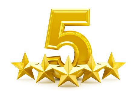 Počet pět hvězd - lesklé zlaté hvězdy