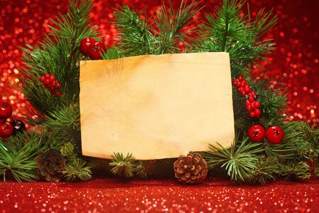 blank note: Christmas tree banches with blank note