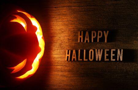 Spooky Halloween background with jack o lantern - Happy Halloween