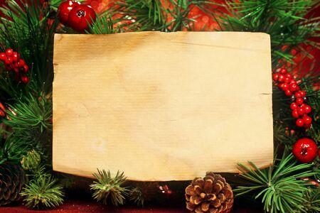 papier a lettre: Banches d'arbres de No�l avec la note vierge