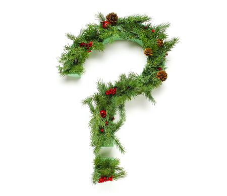 Christmas letters alphabet or font made of pine branches - Question mark Stok Fotoğraf