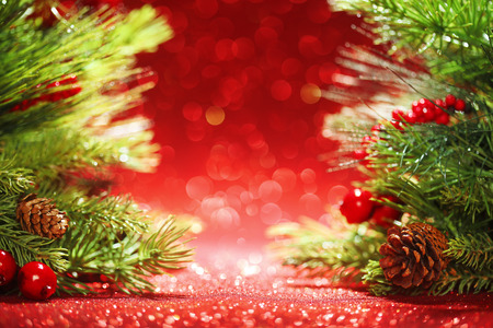 colorful lights: Christmas tree branches on glittering red background