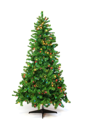 Christmas tree with colorful lights isolated on white Archivio Fotografico