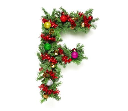 balls decorated: Collection of decorated Christmas tree letters and numbers Stock Photo