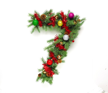 decorated: Collection of decorated Christmas tree letters and numbers Stock Photo