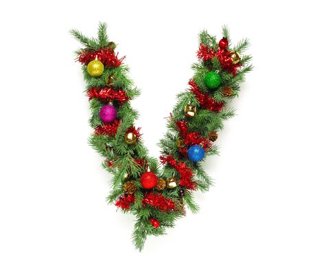 christmas tree decoration: Collection of decorated Christmas tree letters and numbers Stock Photo