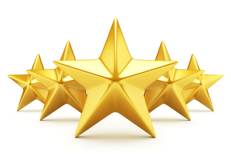 golden star: Five star rating - shiny golden stars