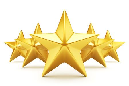 Vijf sterren rating - glanzende gouden sterren Stockfoto