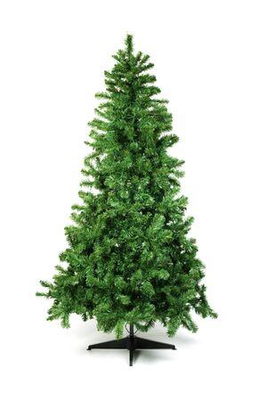 Unadorned Christmas tree isolated on white Stock Photo