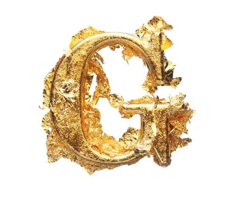 letras doradas: Alfabeto y los números en pan de oro en bruto aislados en blanco Foto de archivo