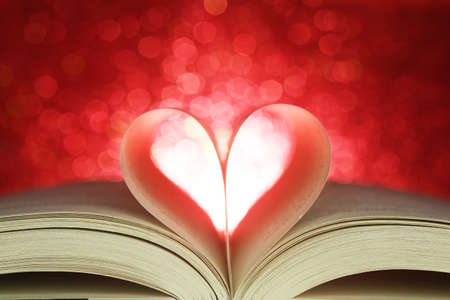 book pages: Book pages in the shape of a heart