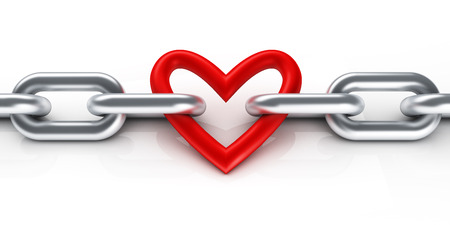 lock symbol: Chain with heart Stock Photo