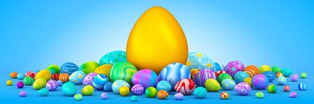 surrounding: Pile of colorful Easter eggs surrounding a giant golden egg Stock Photo