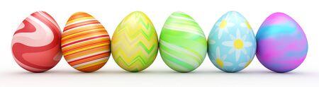 huevos de pascua: Línea de huevos de Pascua coloridos aislados en blanco