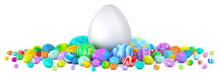 Pile of colorful Easter eggs surrounding a giant white egg