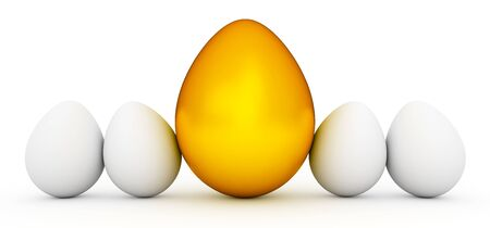 Line of Easter eggs with large golden egg