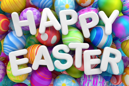 Pile of colorful Easter eggs with Happy Easter Foto de archivo