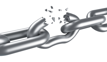 unleash: Steel chain breaking isolated on white