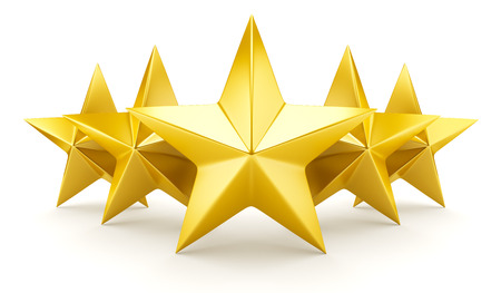 star: Five star rating - shiny golden stars