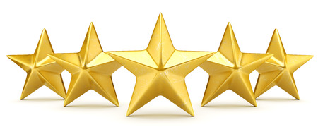 Five star rating - shiny golden stars