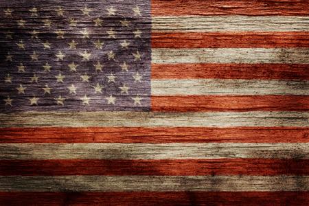 Worn vintage American flag background Standard-Bild