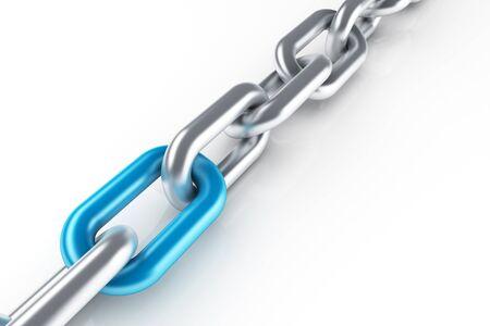 Cadena de acero inoxidable con enlace azul único Foto de archivo - 60412240