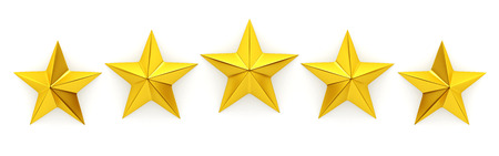 five stars: Five golden stars - 3d rendering