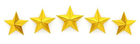 Vijf gouden sterren - 3d rendering Stockfoto