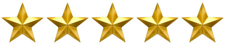 product reviews: Five star golden review Stock Photo