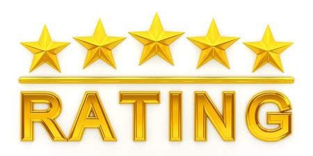 white achievement: Five golden stars - 3d rendering