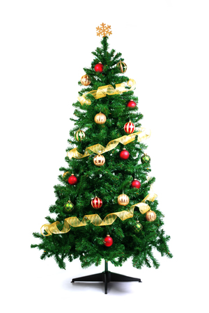 decorated: Decorated Christmas tree isolated on white