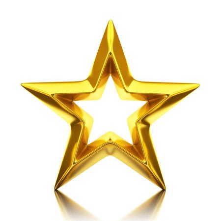 Shiny golden star - 3d rendering