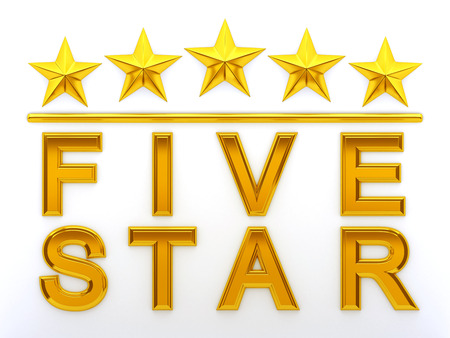 rated: Five Stars - 3d rendering Stock Photo