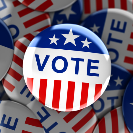 elect: Vote buttons in red, white, and blue with stars - 3d rendering Stock Photo