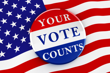 elect: Vote button on American flag background - 3d rendering Stock Photo