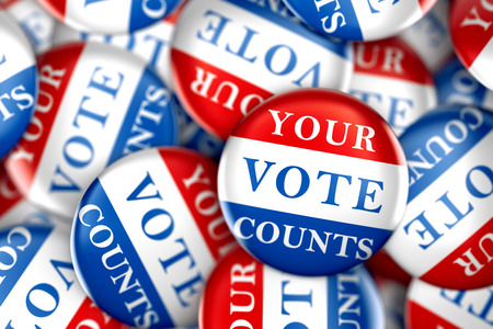 counts: Vote buttons with Your Vote Counts - 3d rendering