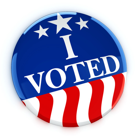 vote button: Vote button in red, white, and blue with stars - 3d rendering Stock Photo
