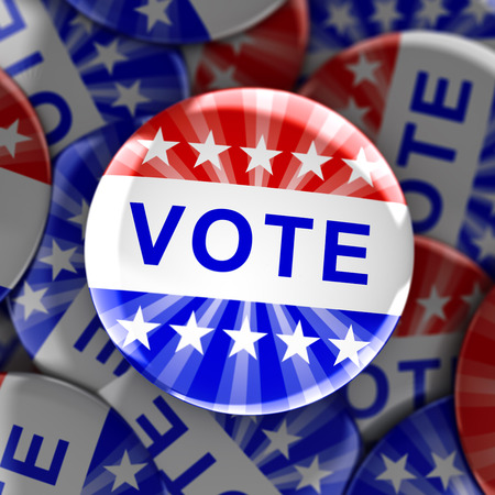 presidential: Vote buttons in red, white, and blue with stars - 3d rendering Stock Photo