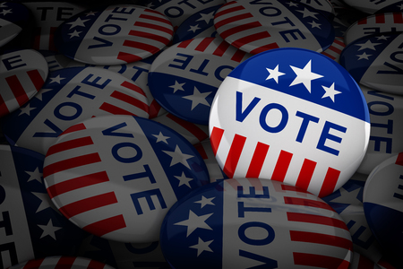 electing: Vote buttons in red, white, and blue with stars - 3d rendering Stock Photo