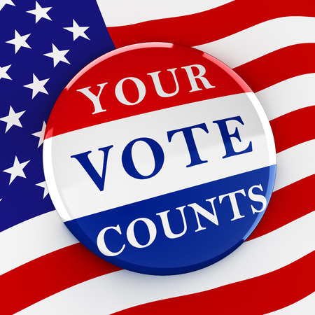 electing: Vote button on American flag background - 3d rendering Stock Photo