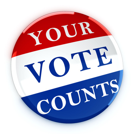 counts: Vote button with Your Vote Counts - 3d rendering Stock Photo