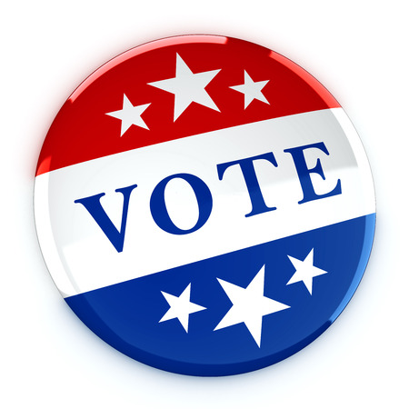 electing: Vote button in red, white, and blue with stars - 3d rendering Stock Photo
