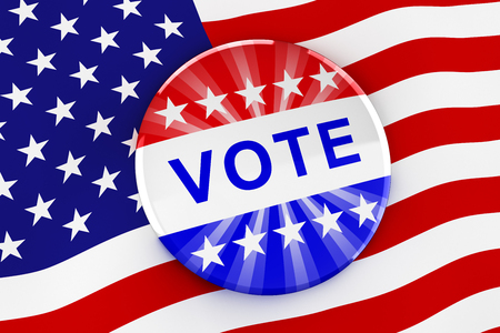 Vote button on American flag background - 3d rendering Stock Photo