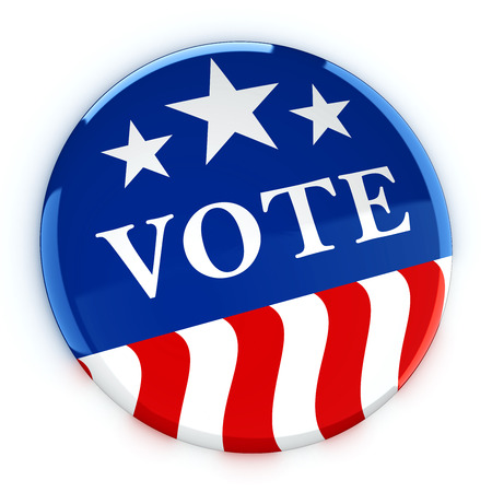 elect: Vote button in red, white, and blue with stars - 3d rendering Stock Photo
