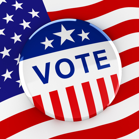 vote button: Vote button on American flag background - 3d rendering Stock Photo