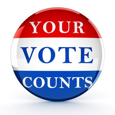 vote button: Vote button with Your Vote Counts - 3d rendering Stock Photo