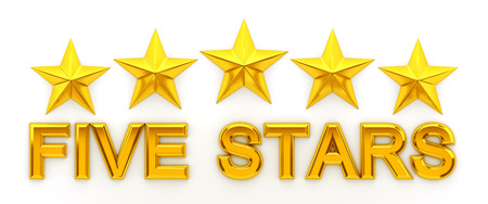 Five Stars - 3d rendering Stock Photo