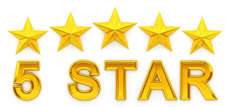 five stars: Five Stars - 3d rendering Stock Photo