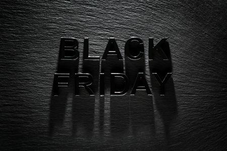 ブラックフラ イデー暗いスレート背景に 写真素材