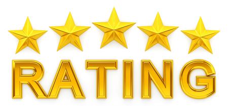 five star: Five star rating - 3d rendering
